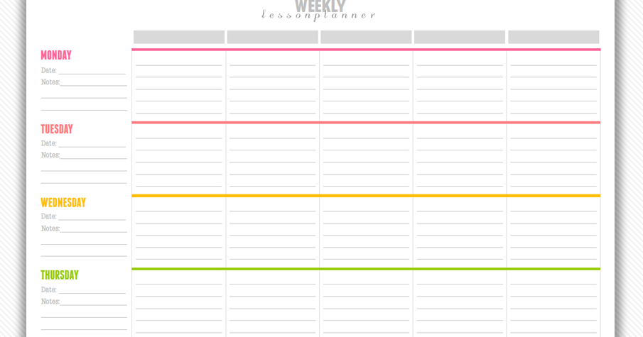 My Strawberry Baby Free Printable Weekly Lesson Plan Template