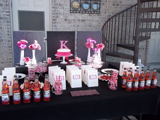 Hot Pink And Black Birthday Party Decor