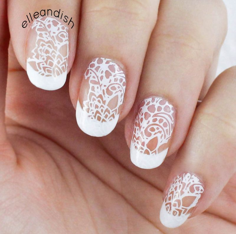Wedding nails: white lace over french manicure nail art by Janelle ...