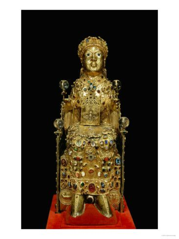 Reliquary statue of Sainte Foy (St. Faith). Abbey church of Conques, France. Late 9th or 10th century with later additions. Silver gilt over a wood core. Height 33""
