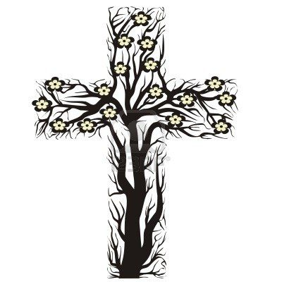 Floral Christian Cross Tree Shape On A White Background Vector Tattoo Background Christian Cross Cross Tree