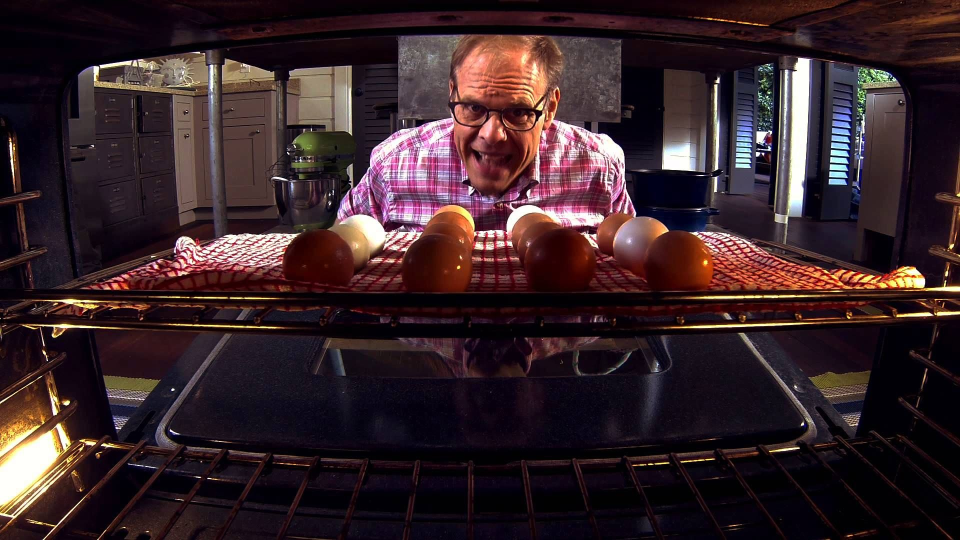 Alton Browns method of making hardcooked eggs in the oven Great
