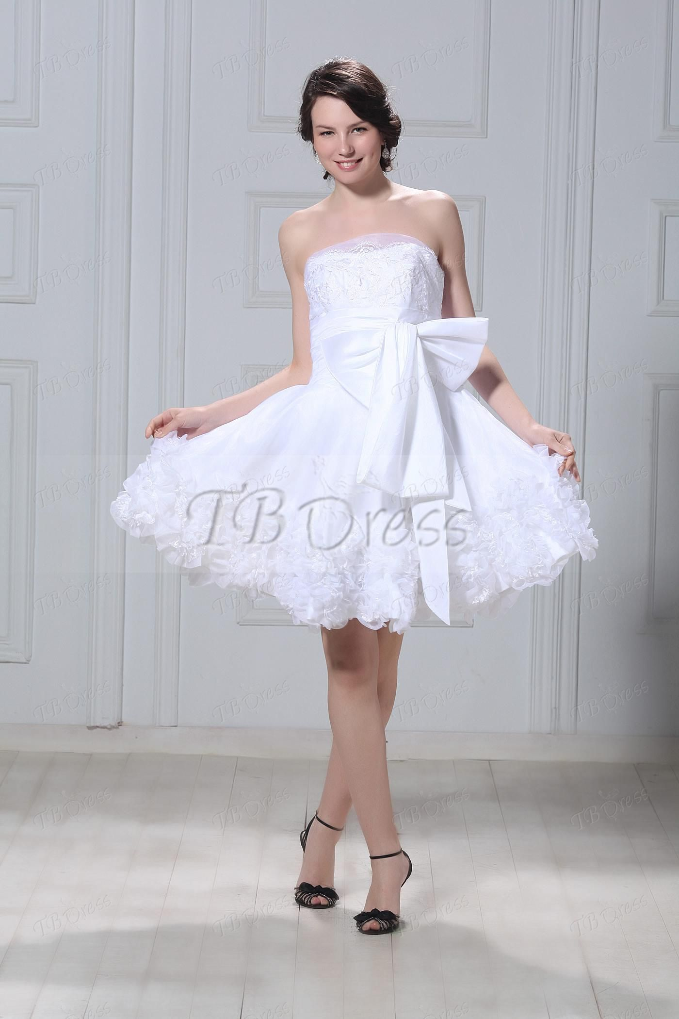 Aline shortminilength strapless flowers talineus wedding dress