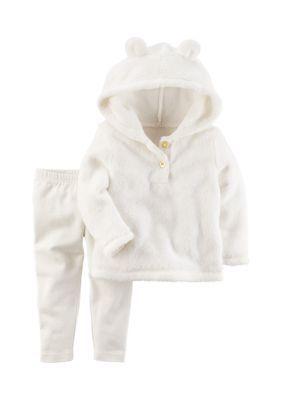 e014e7b818e8 Carter s® Girls Infant 2-Piece Fuzzy Hoodie   Legging Set