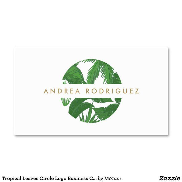 Tropical leaves circle logo business card template for for Circle business card template