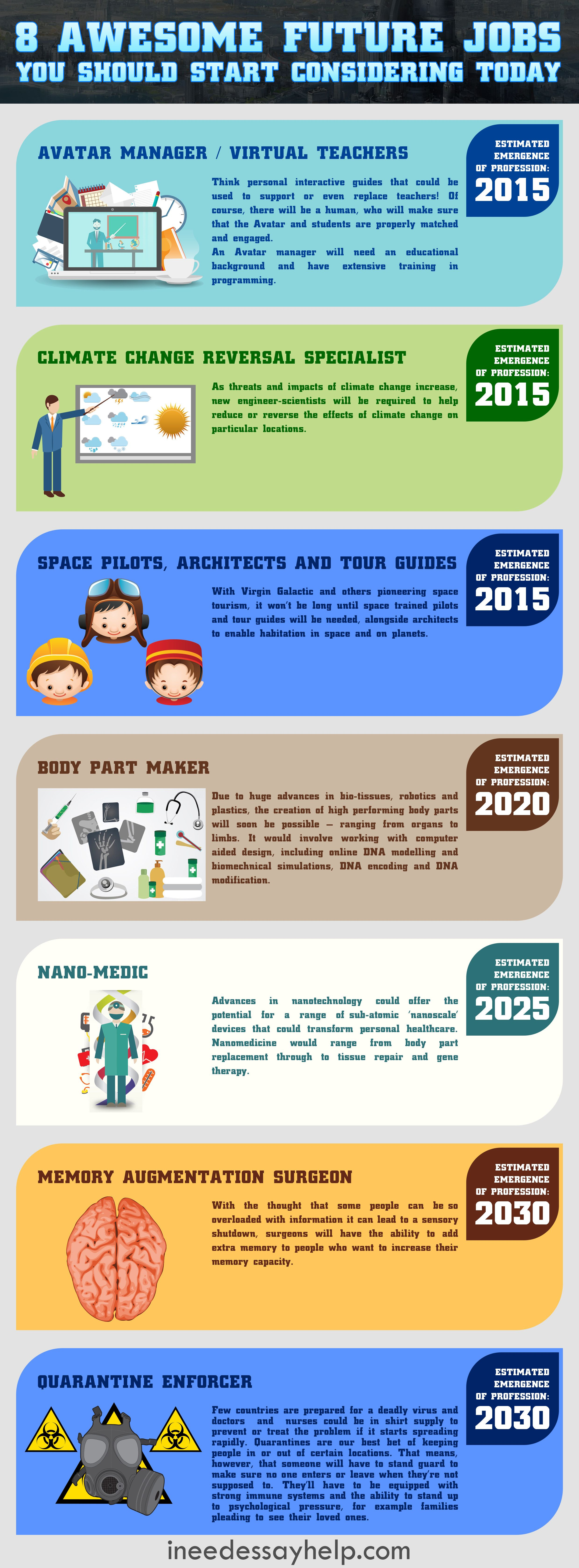 8 Awesome Future Jobs You Should Start Considering Today Infographic Future Jobs Job Search Tips Career Exploration