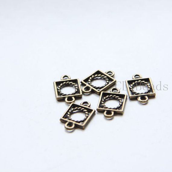 80pcs Antique Brass Tone Base Metal Link  Square by clbeads