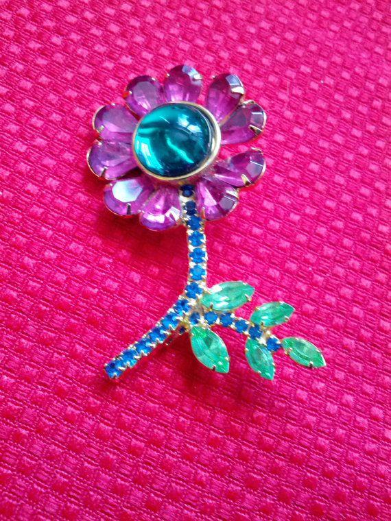 Vintage Pink Green Rhinestone Glass Floral by VansVintageTreasures, $48.00