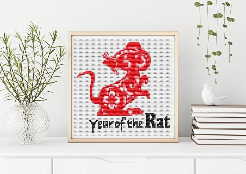 Year of the Rat Cross Stitch Pattern PDF, Chinese Zodiac