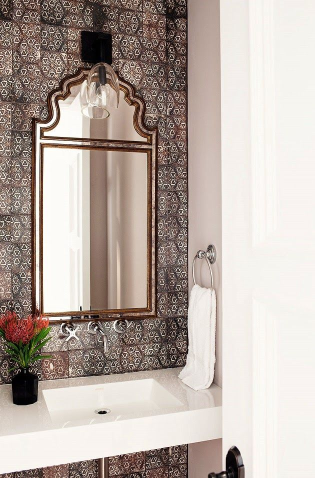 Powder Room Features An Accent Wall Clad In Gray Mosaic Tiles Cle Tile Origins Asal Lined With A Moroccan Style Mirror Illuminated By Gl Sconce