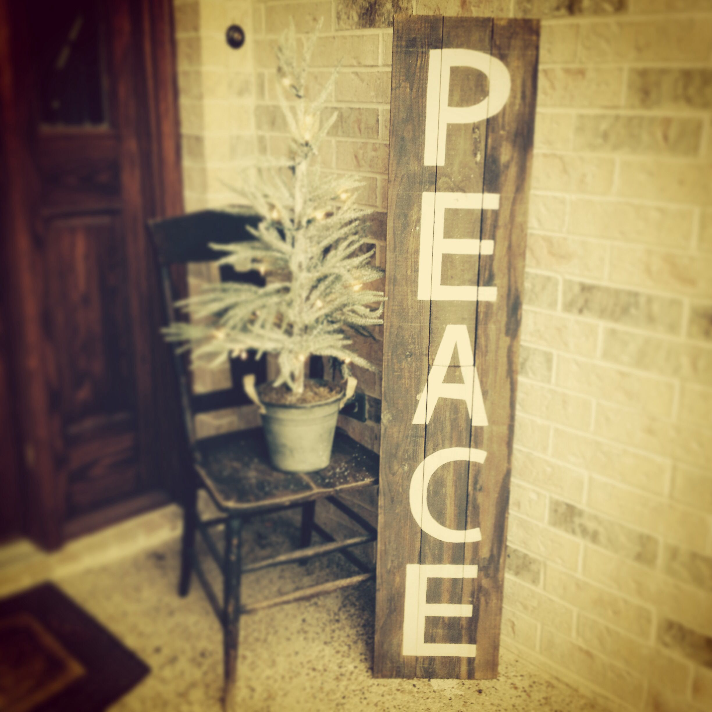 Rustic Christmas - Peace sign made from old fence wood and ...