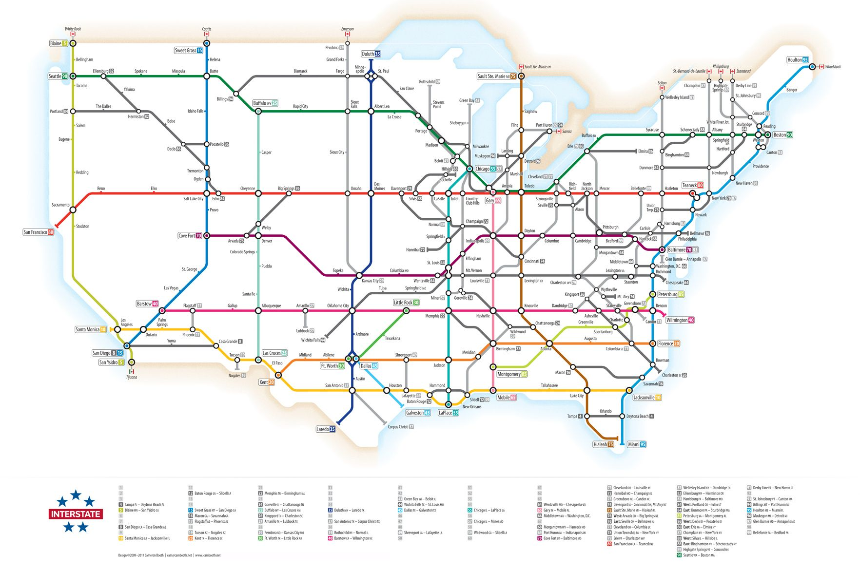 Here\'s the US interstate highway system drawn as a subway ...