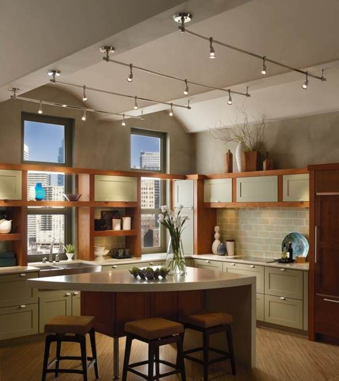 Mesmerizing Vaulted Ceiling Lighting Kitchen Island