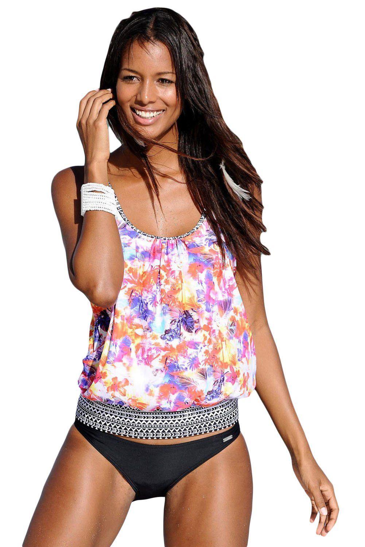 Vibrant Floral Beach Ethnic Print 2pcs Tankini Swimsuit  a35647994