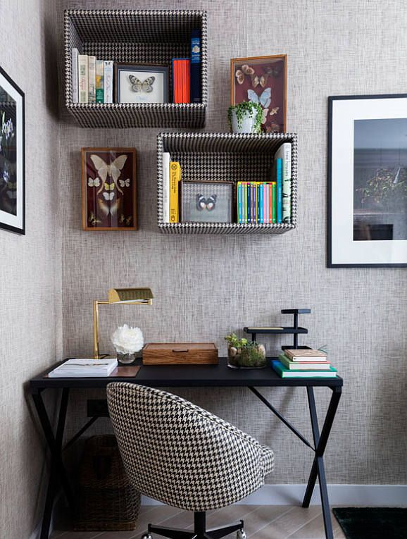 classic home study, office with desk chair made with black and white fabric, boxes hung above desk covered with black and white fabric