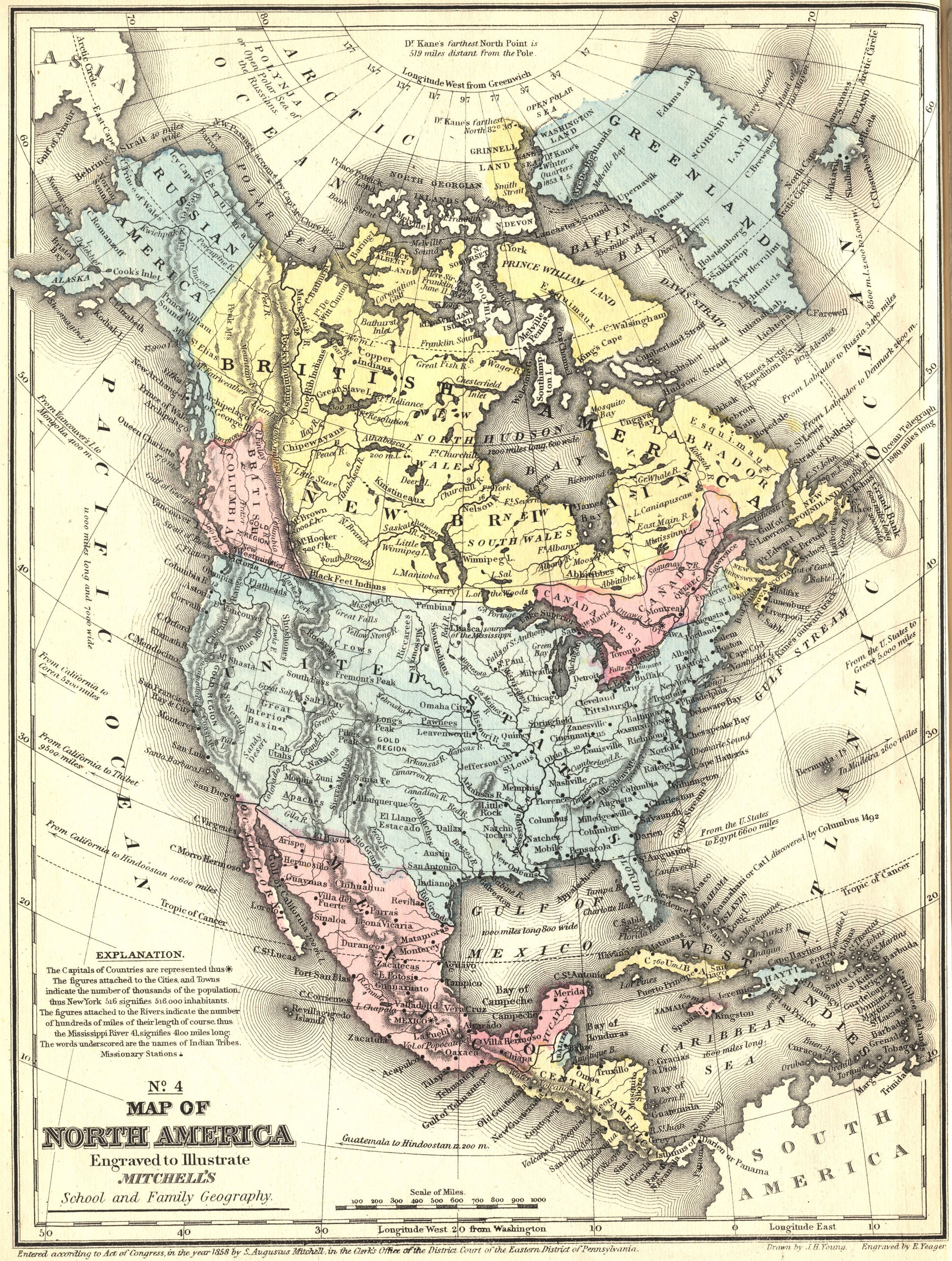 medium resolution of 1858 map of north america