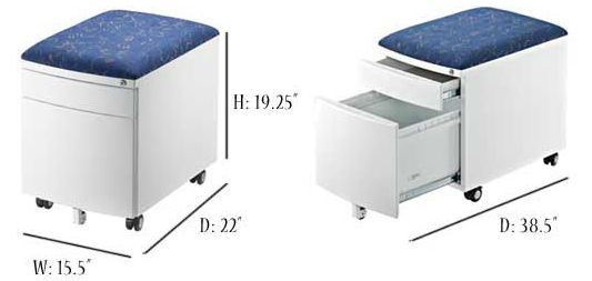 mobile filing cabinet system drawer cushion top file blue rolling with lock locking bar