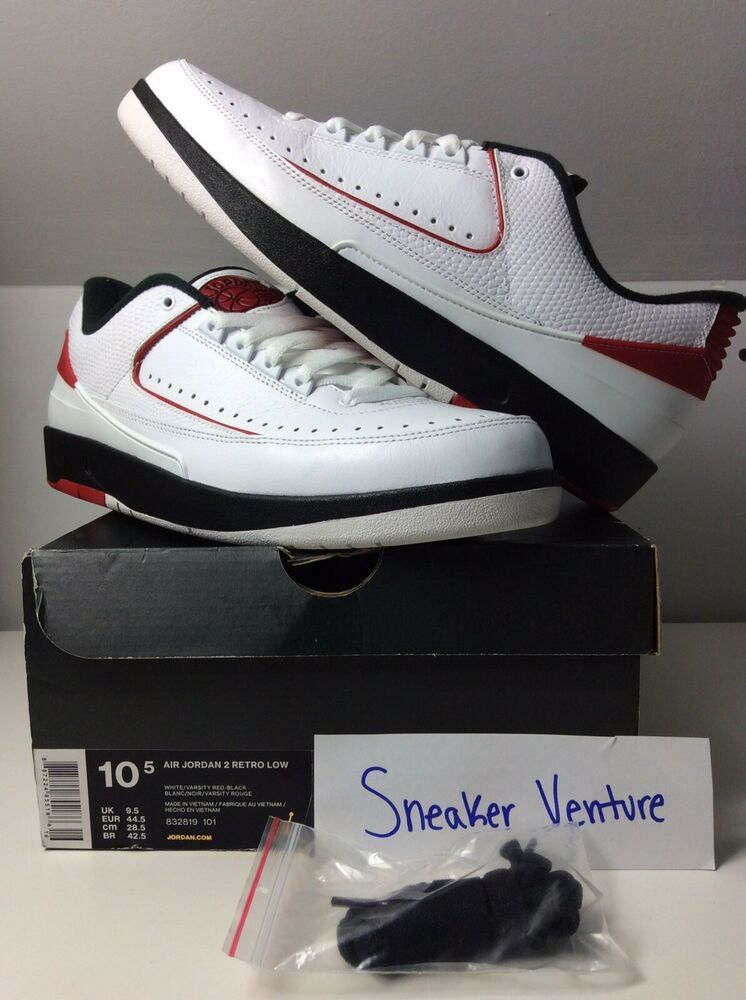 reputable site 0c74f f1d2a Air Jordan II 2 Retro Low CHICAGO WHITE VARSITY RED BLACK 832819-101 10.5  VNDS