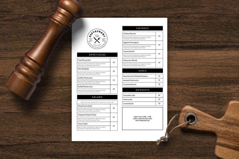 Restaurant Menu Template Menu Design Printable Menu Etsy In 2021 Menu Template Menu Design Printable Menu