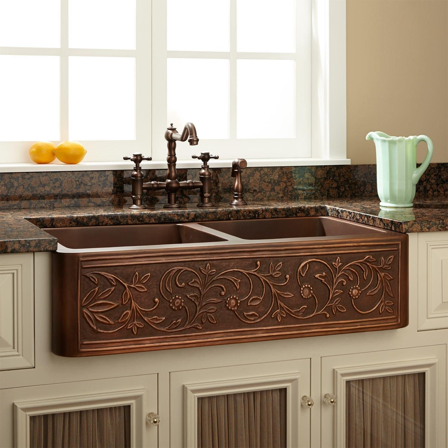 36 Vine Design Double Bowl Copper Farmhouse Sink Farmhouse Sink Kitchen Copper Farmhouse Sinks Rustic Home Design