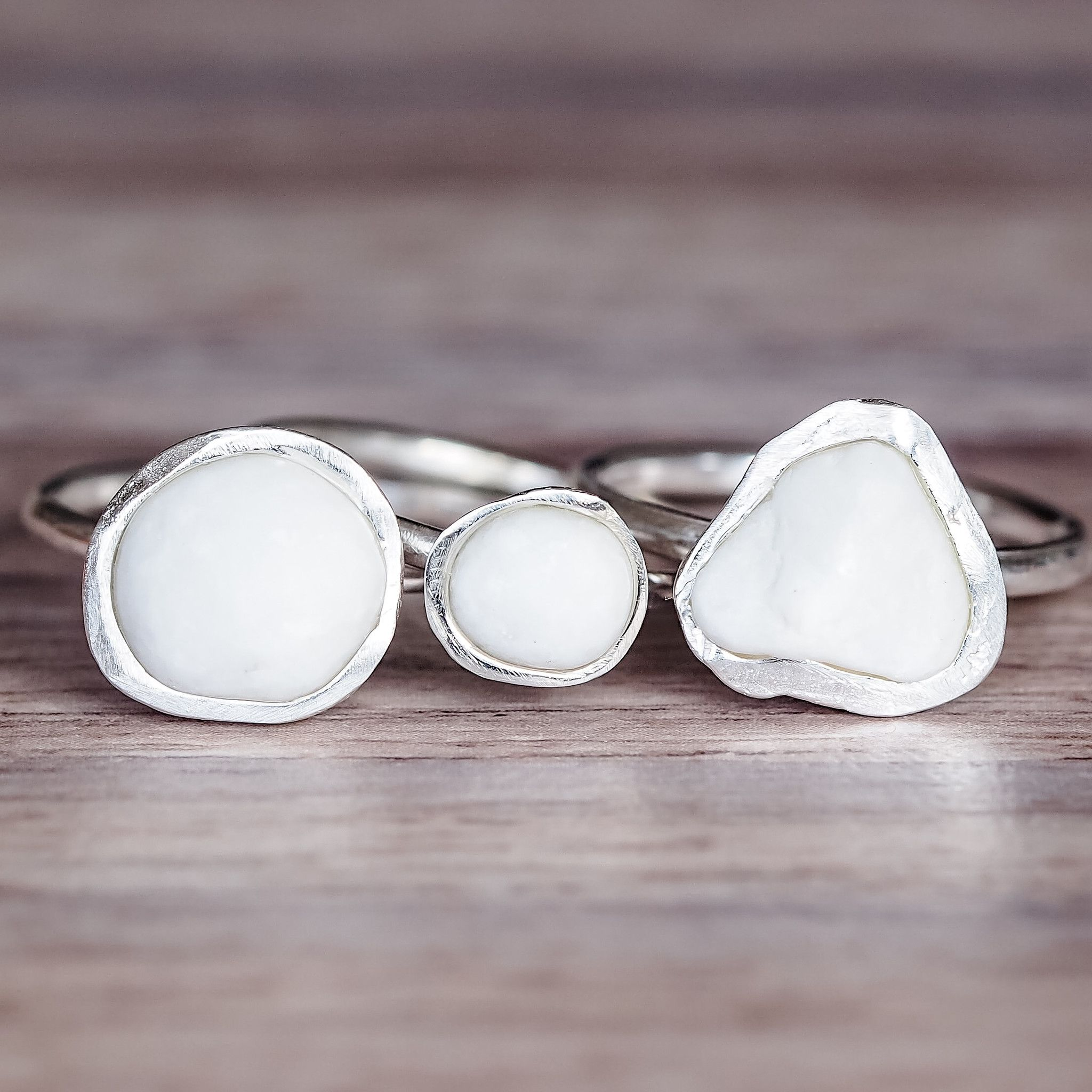 san francisco e9b17 670a6 White Pebble and Sterling Silver Ring   Bohemian Gypsy Jewelry   Festival  Jewels   Indie and Harper