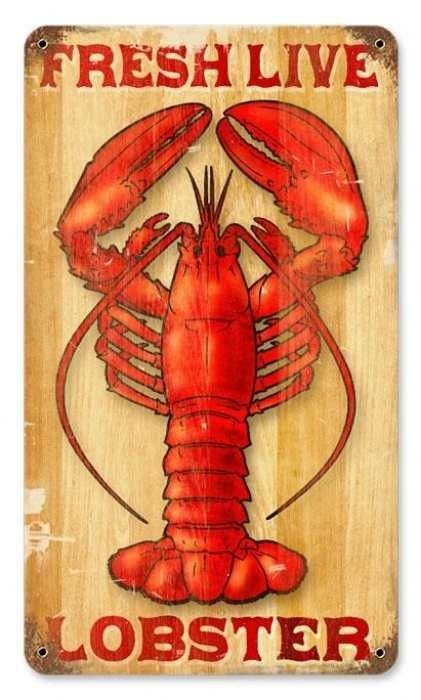 Vintage Lobster Metal Sign 8 X 14 Inches
