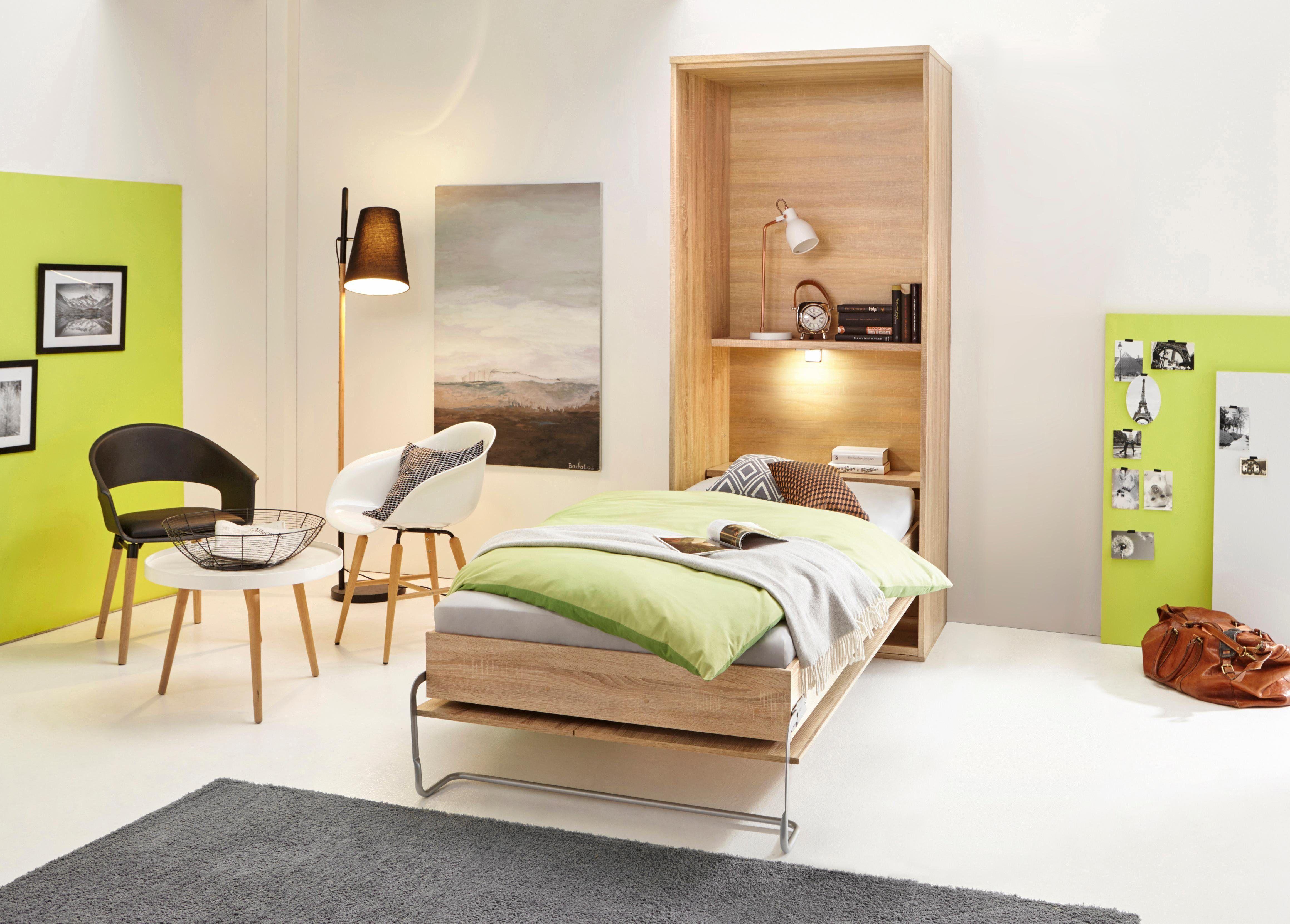 Klappbett mit Regal und LEDBeleuchtung Schlafzimmer