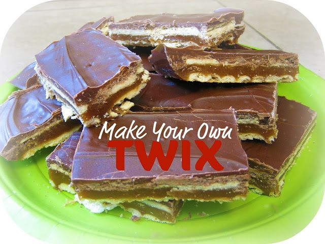 Peppermint Plum: {Make Your Own TWIX} uses club crackers and graham crackers for the cookie layer; caramel layer is homemade