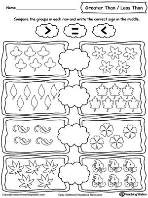 Using Less And Greater Than Signs By Comparing The Number Of Leaves Kindergarten Worksheets Kindergarten Worksheets Printable Numbers Kindergarten Count equal groups worksheets grade