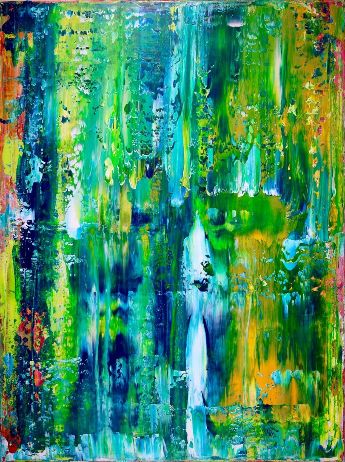Lush greenery is the inspiration for this painting. A very bright ...