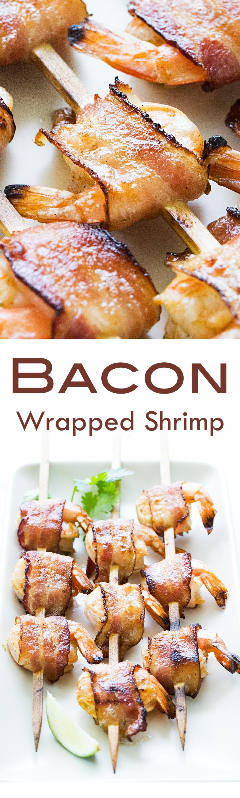 Bacon-wrapped shrimp! Either oven baked or grilled, and seasoned with chili and lime. On SimplyRecipes.com