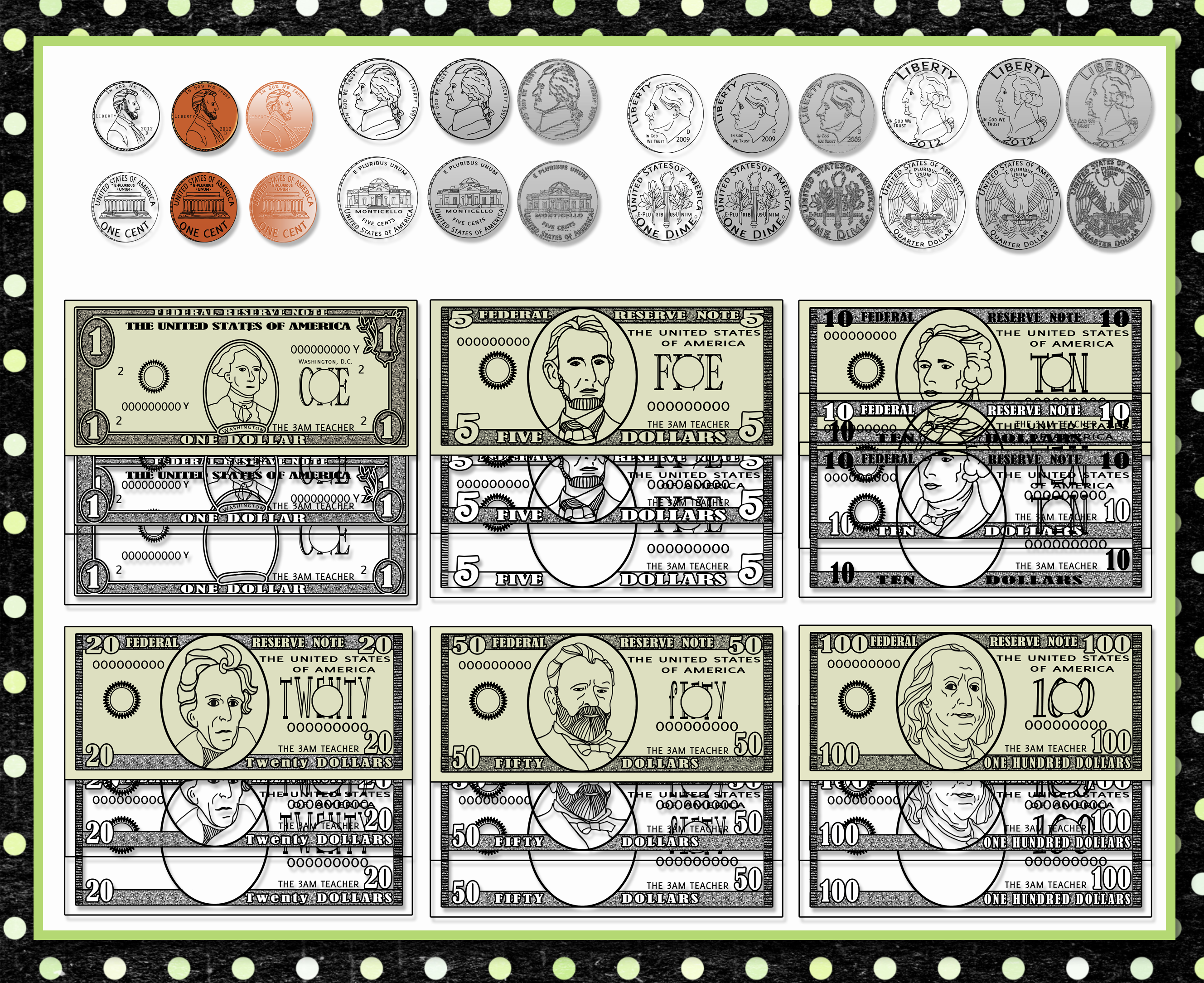 U S Currency Money And Coin Digital Clip Art