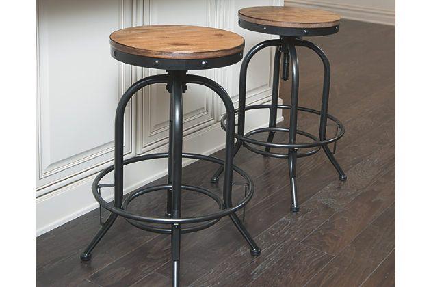 Pinnadel Pub Height Bar Stool Set Of By Ashley HomeStore Light Brown