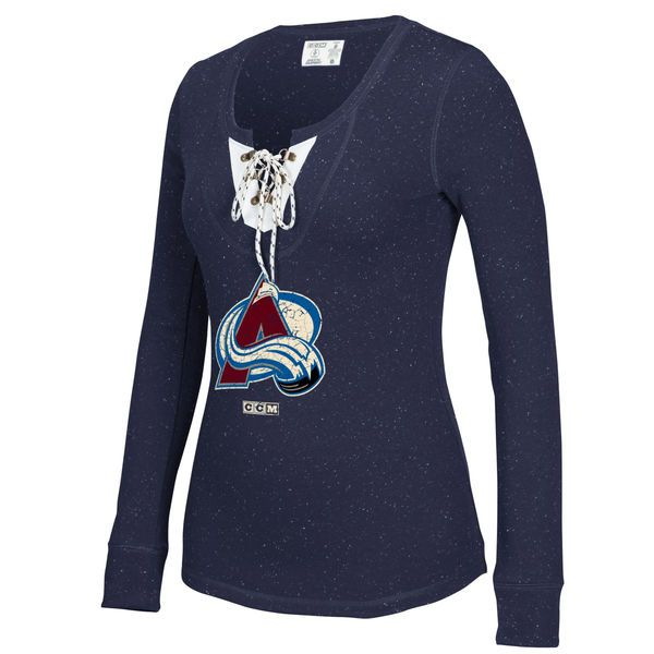 ed9222588e7 Women s Colorado Avalanche CCM Navy Lace-Up Henley T-Shirt