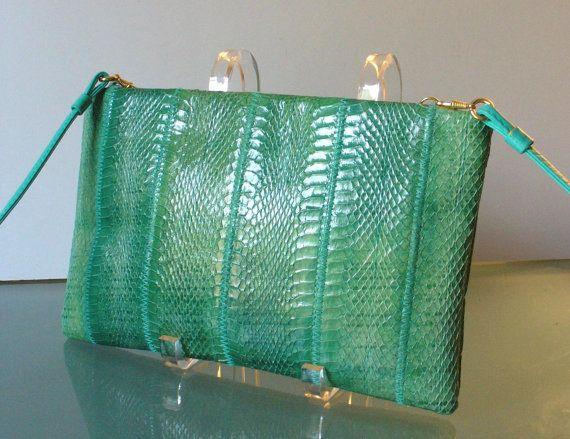 Vintage Seagreen Clemente Snakeskin CLutch by TheOldBagOnline, $36.99