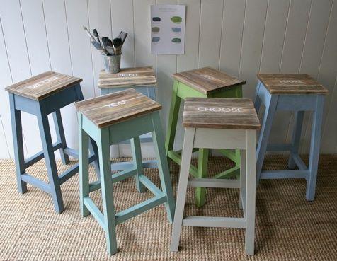 Kitchen bar stools hand painted to order rustic coast fai da te