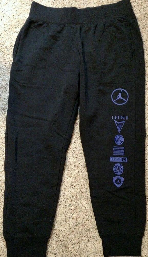 b0d4fc541f2 811337-011 Nike Air Jordan AJ11 Fleece Black/Concord Jogger Sweatpants Large  L #Jordan #Pants