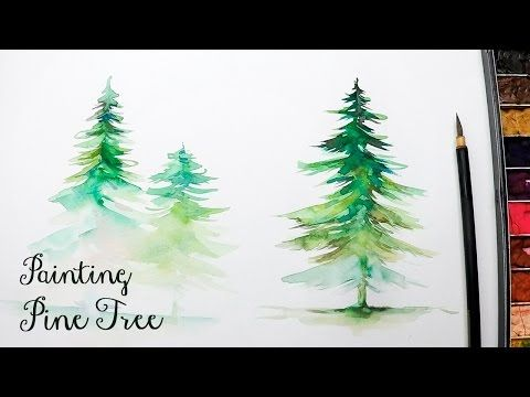 Lvl3 How To Paint A Pine Tree In Watercolor Youtube