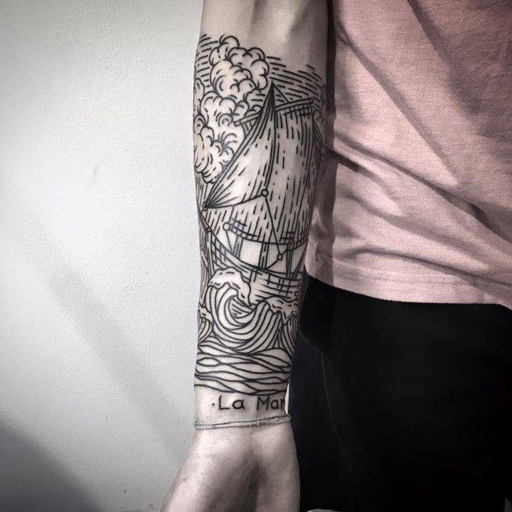 05f262c21 Sea inspired engraving style half sleeve. Thigh Tattoo Men, Forearm Tattoos,  Sleeve Tattoos