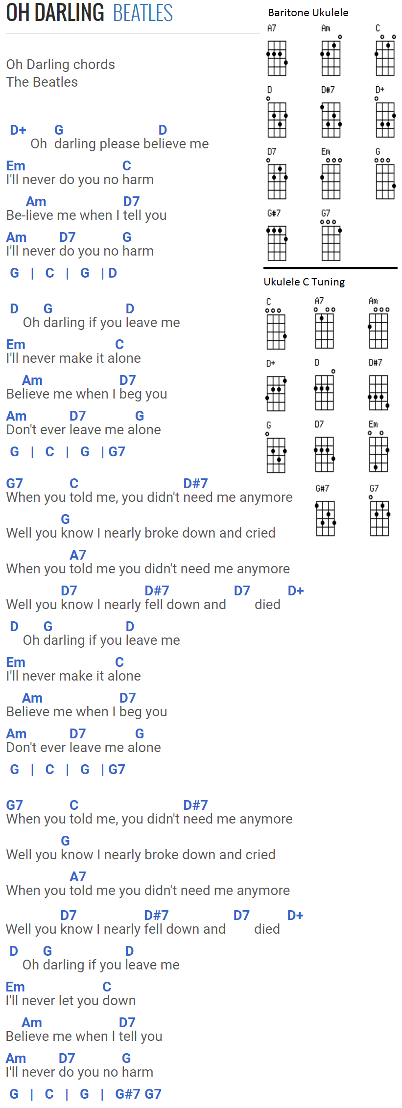 Oh darling the beatles chords for baritone uke and standard uke oh darling the beatles chords for baritone uke and standard uke with c tuning hexwebz Images
