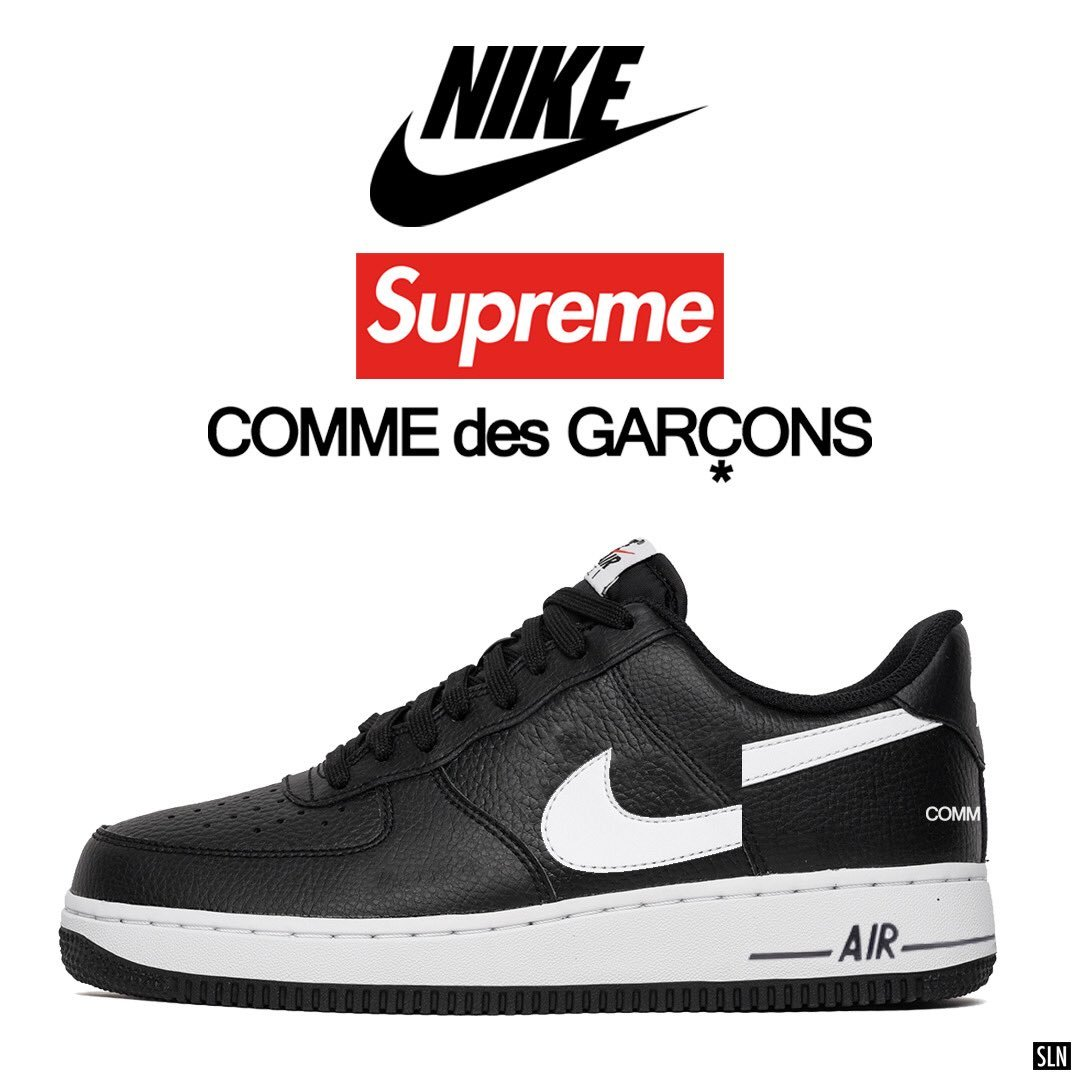 wholesale dealer 8c8a6 626b8 Nike Air Force 1 Low Supreme Comme des Garcons Black #AR7623 ...