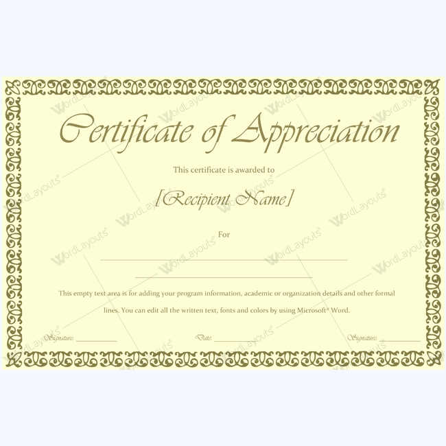 Certificate Of Appreciation Appreciation Appreciationcertificate