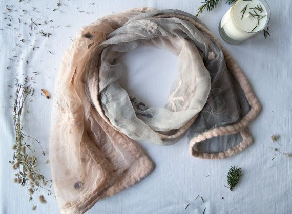 Light winter scarf Snowflakes scarf Pale Smoky by SilkIntuition