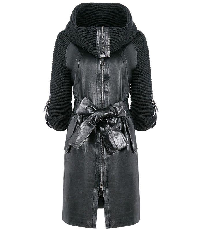 Пальто из натуральной кожи и трикотажа LA REINE BLANCHE ...