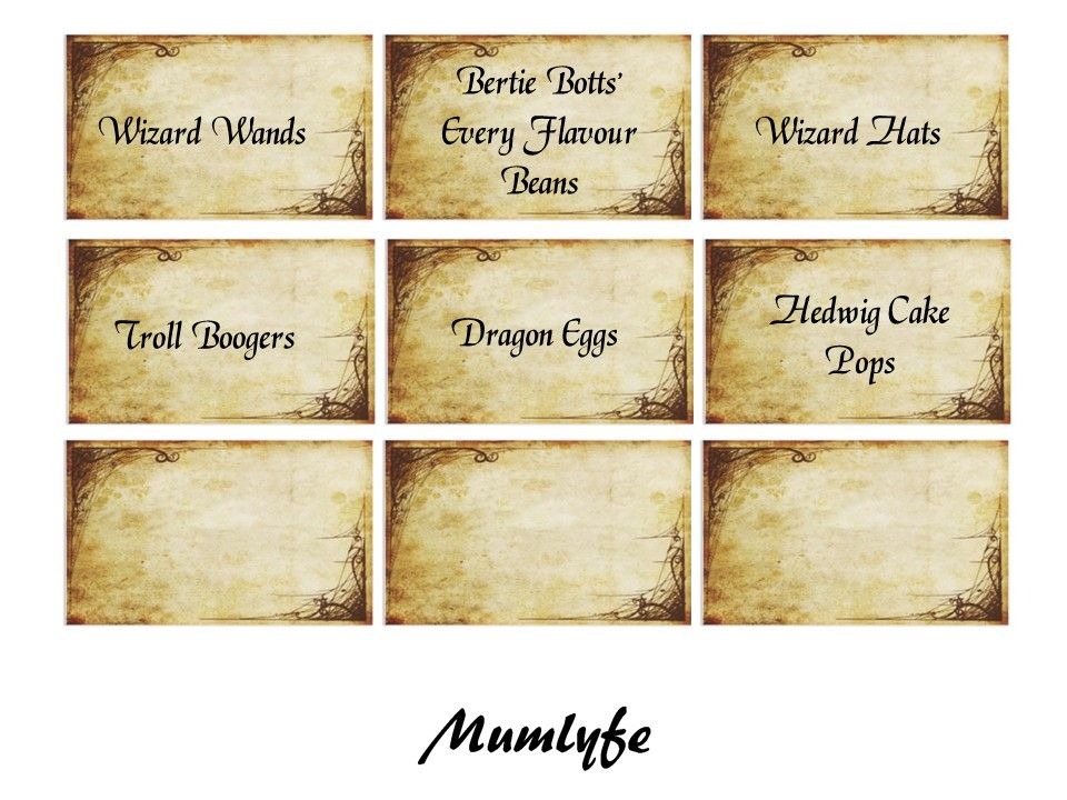 Harry Potter food labels to download and print Harry