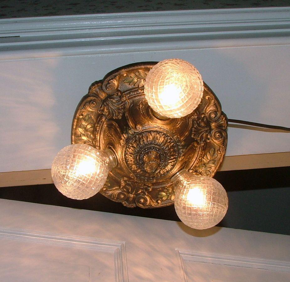 Vintage cast iron lighting 1930 antique flush mount ceiling light vintage cast iron lighting 1930 antique flush mount ceiling light fixture restored rewired arubaitofo Gallery