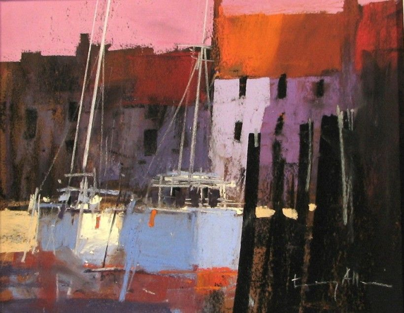'Harbourside' from Tony Allain (was born In 1949 In the Channel Islands; moved in St.Ives [Cornwall]; lives In Nelson, New Zealand)