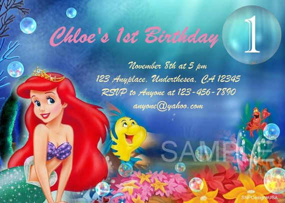 Personalized Disney Little Mermaid Ariel Birthday Invitation DIY – Personalized Disney Birthday Invitations
