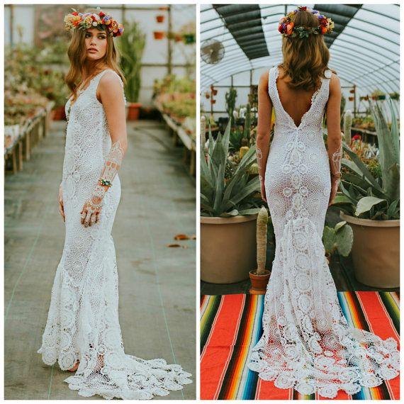 Crochet wedding dress, boho wedding dress, crochet lace wedding ...