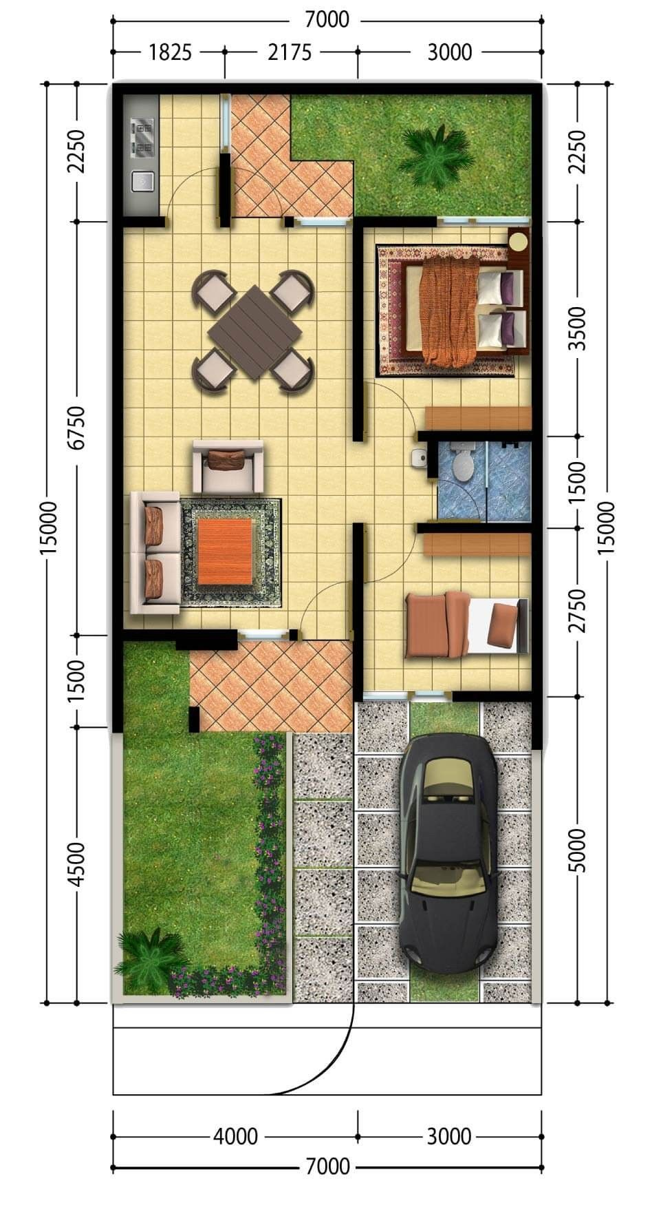 Amazing Beautiful House Plans With All Dimensions To See More Visit Rumah Minimalis Denah Rumah Desain Rumah